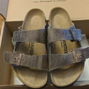 New oil rubbed Birkenstock leather sandals size 38